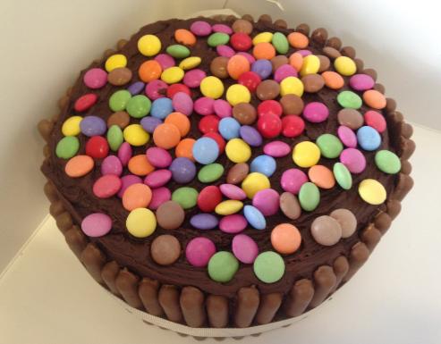 Smarties surprise cake